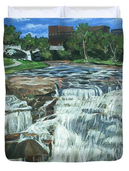 Falls River Park Duvet Cover by Bryan Bustard