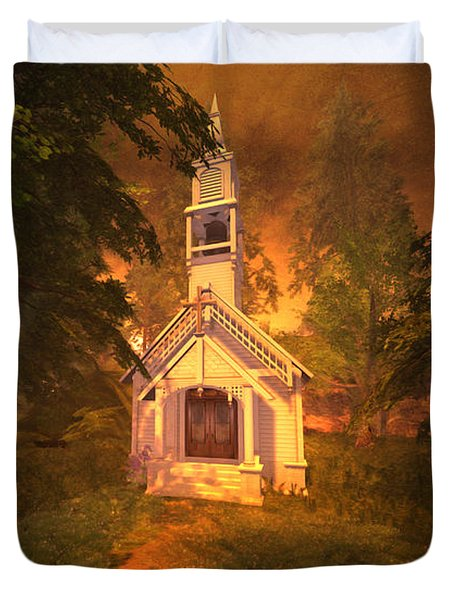 Duvet Cover featuring the digital art Family Chapel by Kylie Sabra
