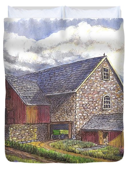 Duvet Cover featuring the drawing A Scottish Farm  by Carol Wisniewski