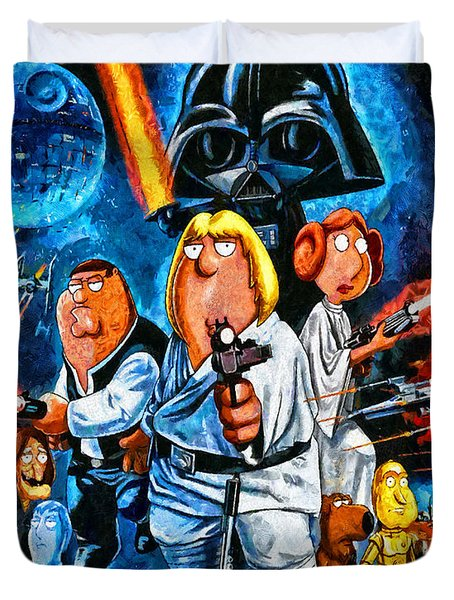 Family Guy Star Wars Duvet Cover by Joe Misrasi