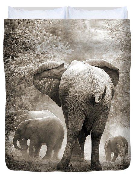 Family Of Elephants Duvet Cover