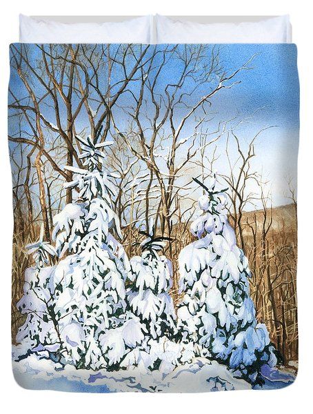 Duvet Cover featuring the painting Family Of Four Trailside At 7 Springs by Barbara Jewell