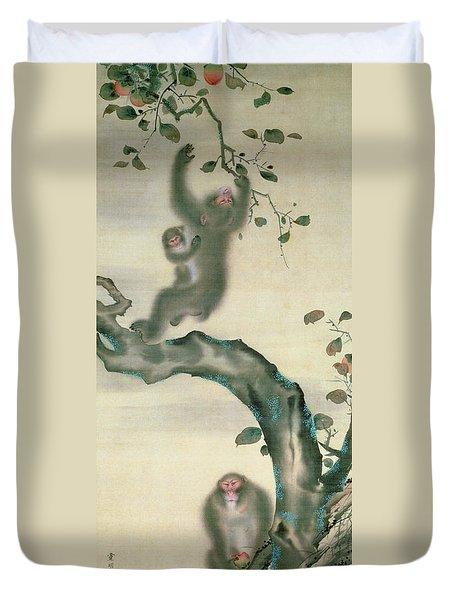 Family Of Monkeys In A Tree Duvet Cover by Japanese School