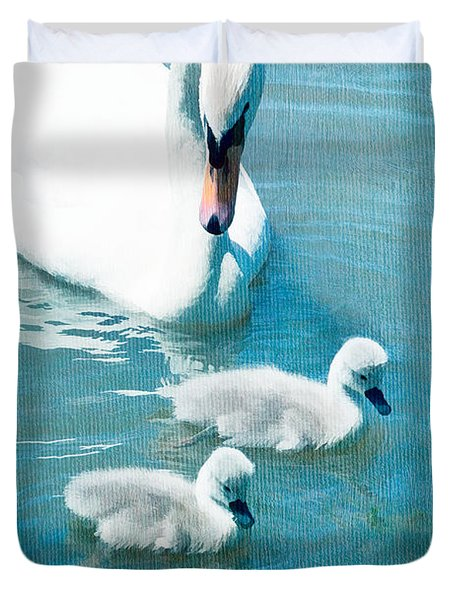 Family Of Swans At The Market Common Duvet Cover