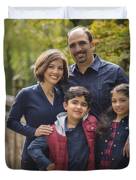 Family Portrait On Bridge - 2 Duvet Cover