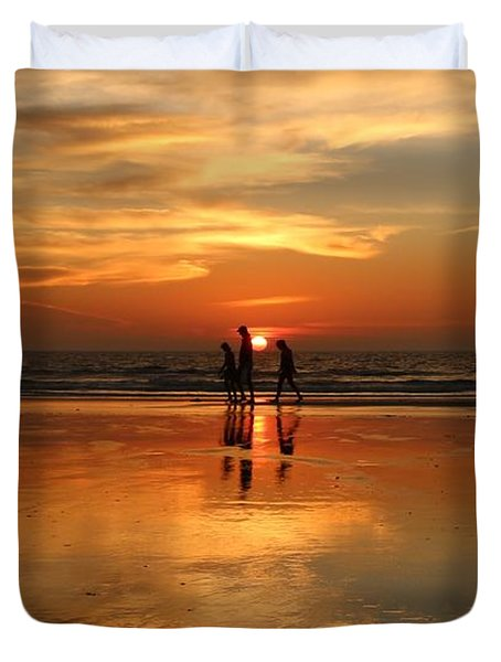 Family Reflections At Sunset -3  Duvet Cover