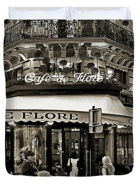 Famous Cafe De Flore - Paris Duvet Cover