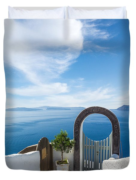 Fanastic View From Santorini Island Duvet Cover