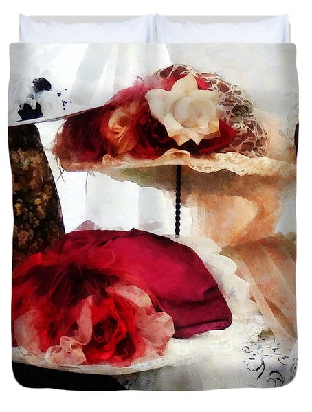 Fancy Hats Duvet Cover by Susan Savad