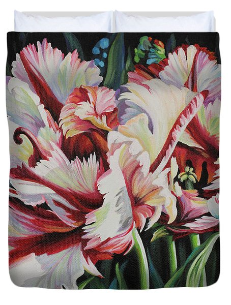 Duvet Cover featuring the painting Fancy Parrot Tulips by Jane Girardot