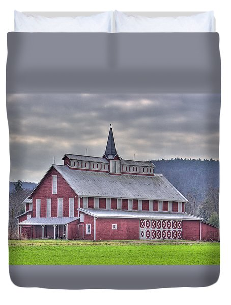 Fancy Red Barn Duvet Cover
