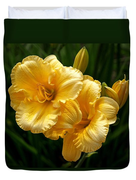 Fancy Yellow Daylilies Duvet Cover by Rona Black
