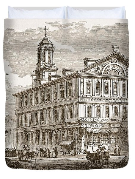 Faneuil Hall, Boston, Which Webster Duvet Cover by American School