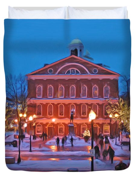Faneuil Hall Holiday- Boston Duvet Cover by Joann Vitali