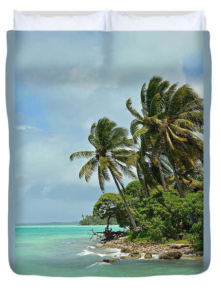 Fanning Island Coconut Trees Duvet Cover