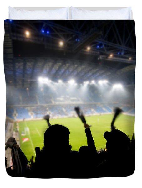 Fans Celebrating Goal Duvet Cover by Michal Bednarek