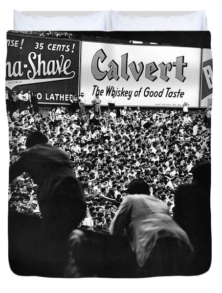 Fans In The Bleachers During A Baseball Game At Yankee Stadium Duvet Cover