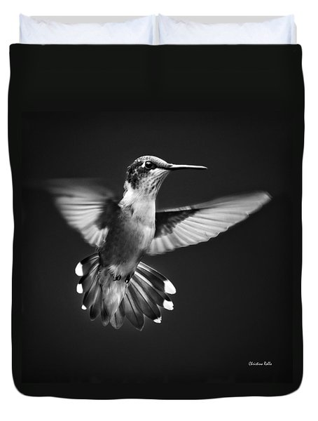 Fantail Hummingbird Duvet Cover by Christina Rollo