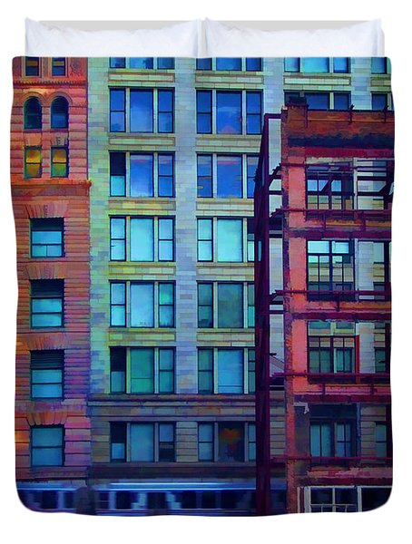 Duvet Cover featuring the pyrography Fantastical Chicago Loop by John Hansen
