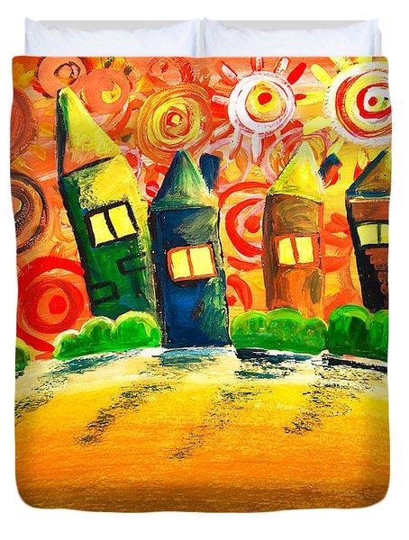 Fantasy Art - The Village Festival Duvet Cover by Nirdesha Munasinghe