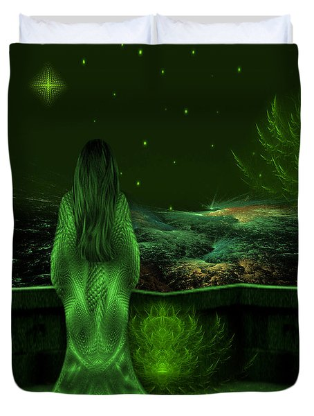 Fantasy Art - Wishing Upon A Star In A Green Night  By Rgiada  Duvet Cover
