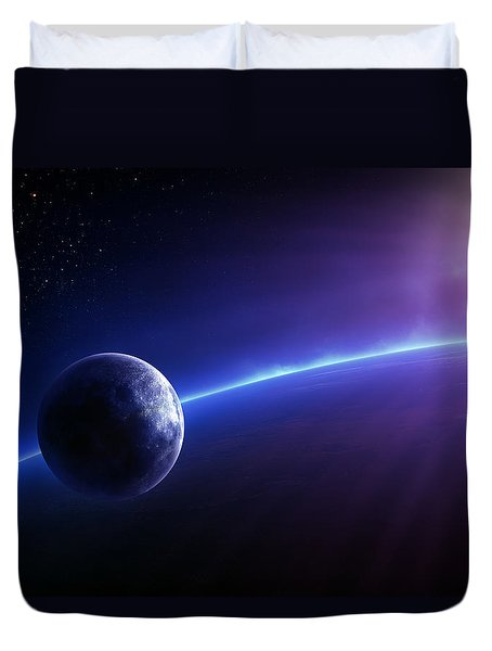 Fantasy Earth And Moon With Colourful  Sunrise Duvet Cover