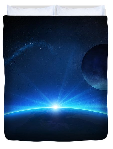 Fantasy Earth And Moon With Sunrise Duvet Cover