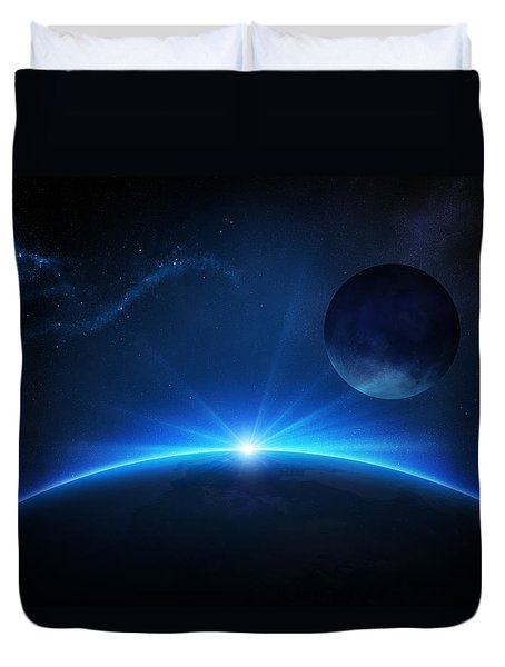 Fantasy Earth And Moon With Sunrise Duvet Cover by Johan Swanepoel