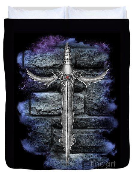 Fantasy Fire Flower Short Sword Duvet Cover