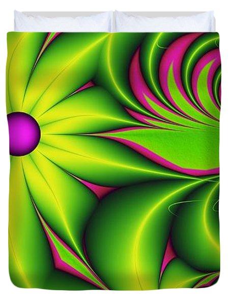 Duvet Cover featuring the digital art Fantasy Flowers by Gabiw Art
