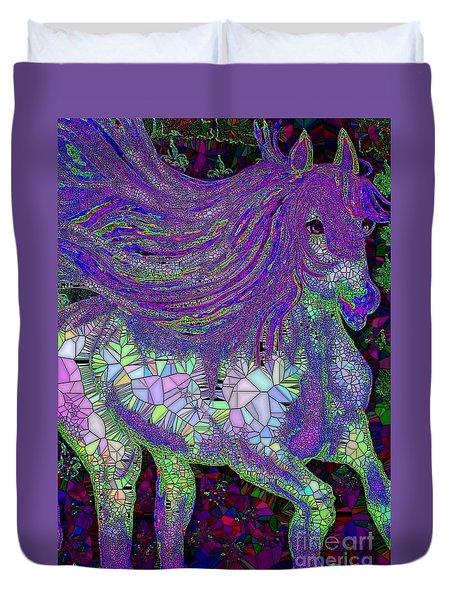 Fantasy Horse Purple Mosaic Duvet Cover