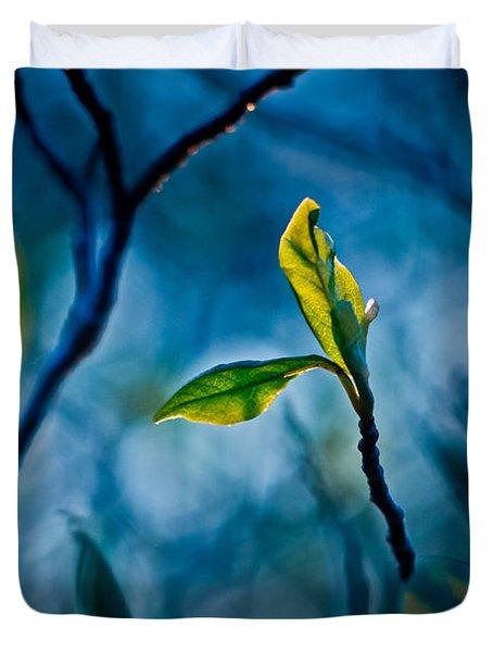 Fantasy In Blue Duvet Cover by Linda Unger