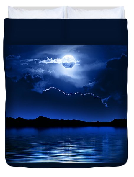 Fantasy Moon And Clouds Over Water Duvet Cover