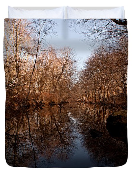 Far Mill River Reflects Duvet Cover by Karol Livote