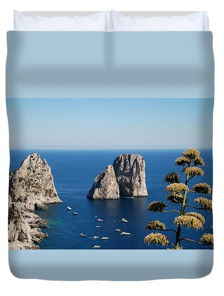 Duvet Cover featuring the photograph Faraglioni In Capri by Dany Lison