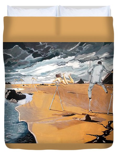 Duvet Cover featuring the painting Faraway Lejanias by Lazaro Hurtado