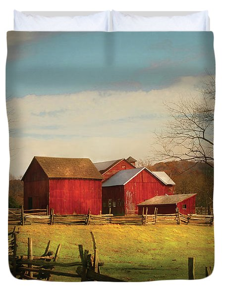Farm - Barn - Just Up The Path Duvet Cover by Mike Savad