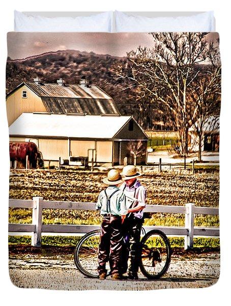 Farm Boys Country Exchange Duvet Cover by Randall Branham