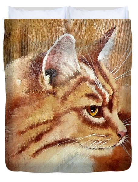 Farm Cat On Rustic Wood Duvet Cover by Debbie LaFrance