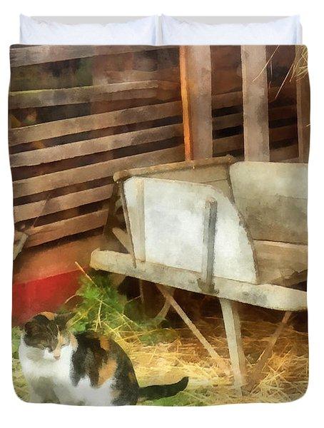 Farm Cat Duvet Cover by Susan Savad