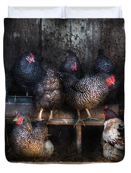 Farm - Chicken - The Hen House Duvet Cover by Mike Savad
