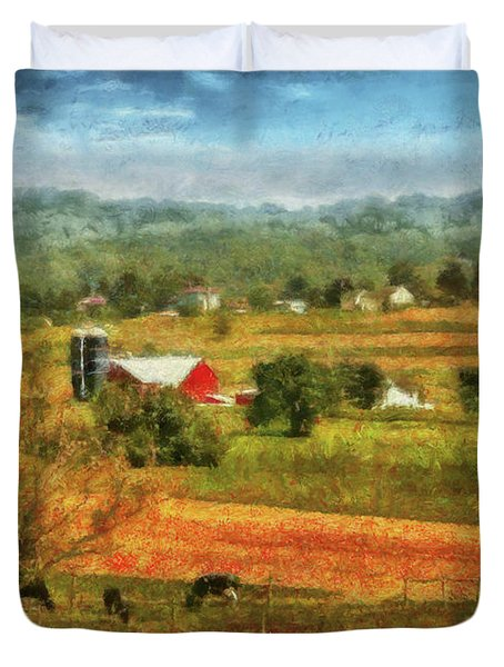 Farm - Cow - Cows Grazing Duvet Cover by Mike Savad