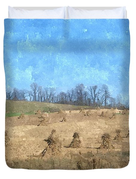 Duvet Cover featuring the painting Farm Days 2 by Sara  Raber