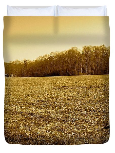 Farm Field With Old Barn In Sepia Duvet Cover by Amazing Photographs AKA Christian Wilson
