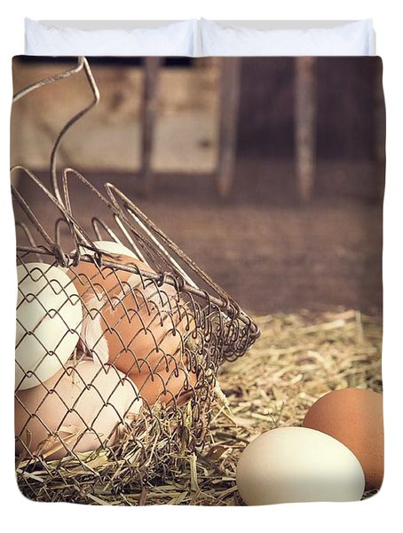 Farm Fresh Eggs Duvet Cover by Edward Fielding