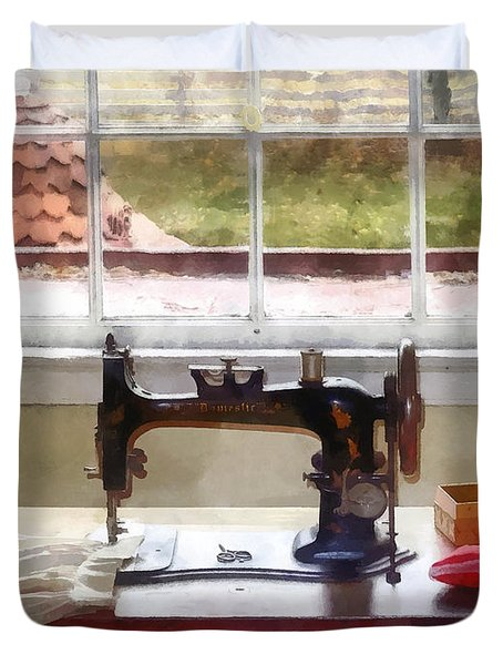 Farm House With Sewing Machine Duvet Cover
