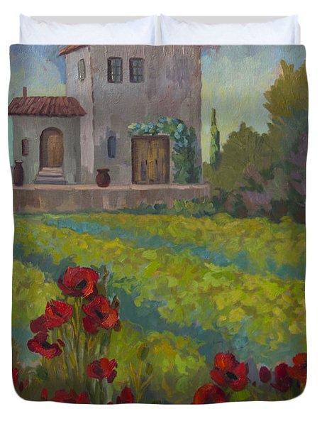 Farm In Sienna Duvet Cover by Diane McClary