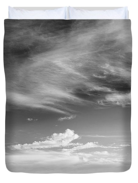 Farm In The Distance In A Snowy Field Duvet Cover by Patrick LaRoque
