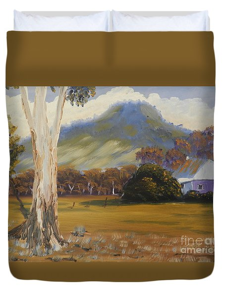 Farm With Large Gum Tree Duvet Cover