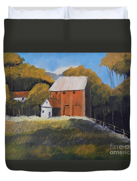 Duvet Cover featuring the painting Farm With Red Barn by Pamela  Meredith